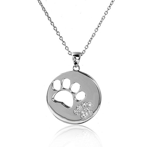 Rhodium Plated Sterling Silver Round Cut Out Open Paw Print Pendant Necklace