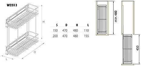 dispensa scaffale per cucina sistema di apertura Soft Close armadietto side-mounted 150 mm Cestello a filo estraibile con montaggio laterale 2-levels Chrome