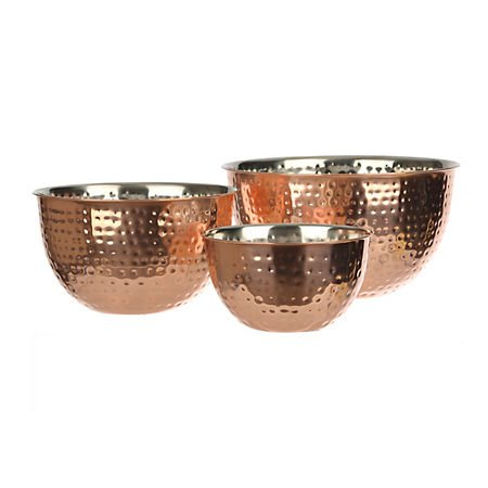 Set Of 3 Copper Hammered Mixing Bowls With Stainless Steel Interior Finish Nesting Bowls, Chef Cookware Set, by Le'raze (Image #4)