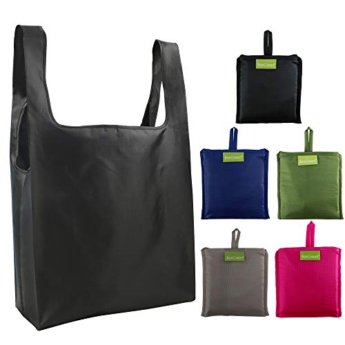 Reusable Bags Set of 5, Grocery Tote Foldable into Attached Pouch, Ripstop Polyester Reusable Shopping Bags, Washable, Durable and Lightweight (Black,Navy,Pink,Moss,gray) -