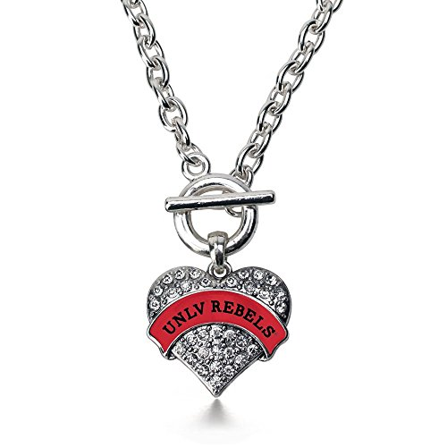 - Inspired Silver UNLV Rebels Pave Heart Toggle Necklace Clear Crystal Rhinestones