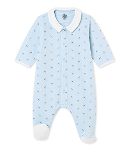 Petit Bateau Baby Boys Animal Print Front Snap Footie with Collar - Blue (3m)