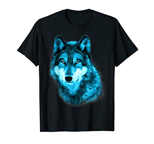 (Wolf Glow Neon Staring T-Shirt Wolves Tee Shirt Gifts)