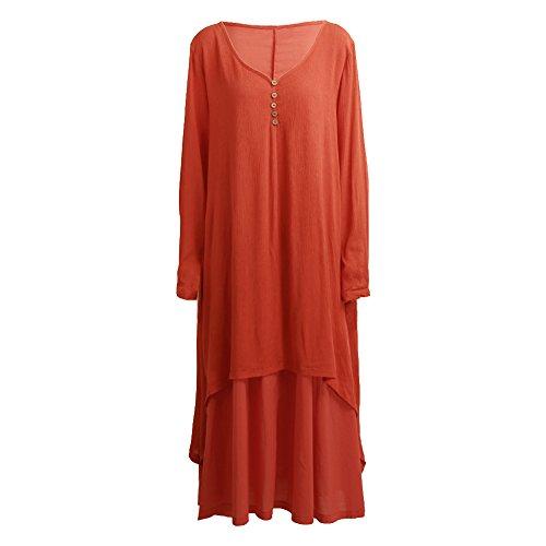 vestito Cotone Casual Arancione Lungo Romacci a e Vestito Scollo Lino V lunghe Cocktail Maxi Asimmetrico maniche Donna Abito lunga U6SPxqSv