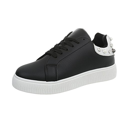 Scarpe Sneakers Ital Donna Sneaker da Low Piatto 88035 Design nero apqn5p1