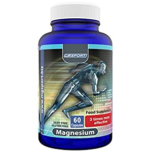 High Absorption Magnesium Oxide for Leg Cramps and Sore Muscles, Restless Leg Syndrome Relief (RLS), Muscle Relaxer with Vitamin B6, D and E, 380mg Gluten Free, 60 Servings