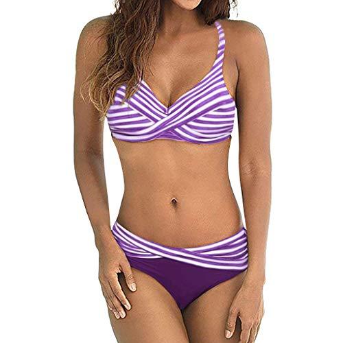 Lavany Womens Bikini Set Sexy Stripe Cross Siamese Halter Bra High Cut Bottom Bikini