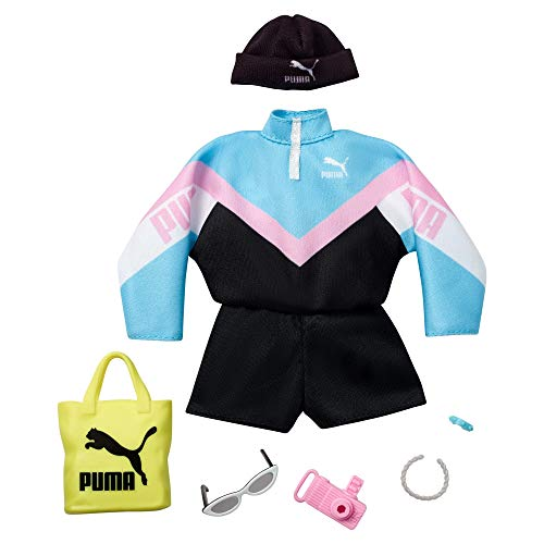 Barbie Storytelling Fashion Pack of Doll Clothes Inspired by Puma Sport Jumpsuit and 6 Accessories Dolls, Gift for 3 to 8 Year Olds