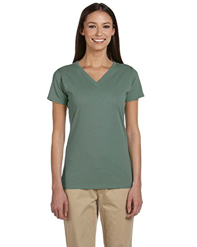 - Econscious Ladies Organic Cotton V-Neck T-Shirt, BLUE SAGE, X-Large
