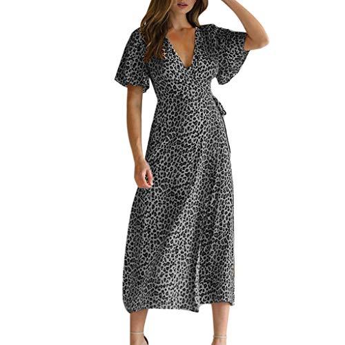 Women Casual Summer Deep V-Neck Leopard Short Sleeve Loose Long Maxi Party Beach Dress Gray