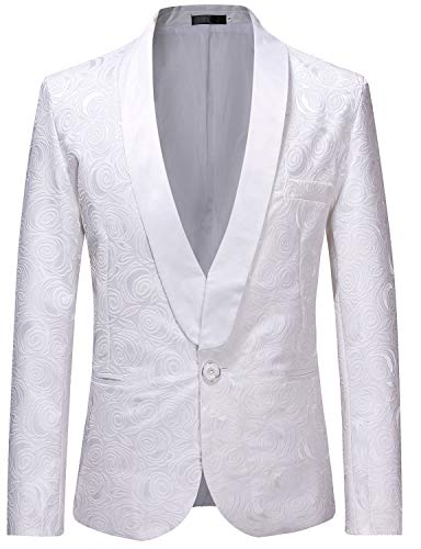 ZEROYAA Men's 1 Button Shawl Collar Wedding Dress Suit White Rose Jacquard Dinner Jacket Prom Tuxedo ZZST02 White Small