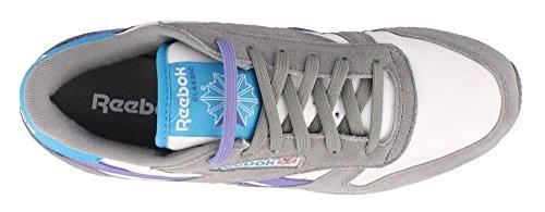 Reebok Womens Cl In Pelle Moda Lace-up Moda Sneaker Nebbioso Grigio / Bianco / Viola / Blu