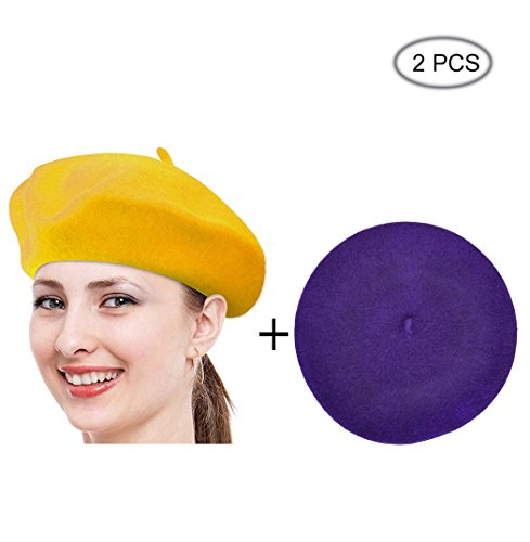 Beret Hat Of French Vintage Style, Solid Color Hat 15colors, Elegant Soft Stretch Wool Cap, Lightweight Classic Boinas Winter Beanie-Yellow/Purple