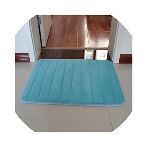 12' Brush Strips - Extra Large Memory Foam Anti-Skid Bath Mat,Super Soft Bathroom Rugs Coral Velvet Non Slip Absorbent Large Carpet,Blue,50x160cm,China