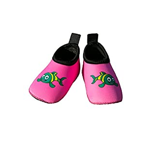 Swim Buddies Baby Swim Shoes - The BEST WATER SHOES for Beach, Pool, Lake - Toddler Aqua Socks - Lightweight & Durable Swimming Shoes (Pink, M (12-24 months, sole length 5 inches))