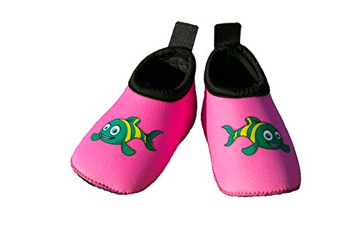 Swim Buddies Baby Swim Shoes - The BEST WATER SHOES for Beach, Pool, Lake - Toddler Aqua Socks - Lightweight & Durable Swimming Shoes (Pink, M (12-24 months, sole length (Play Swim Socks)