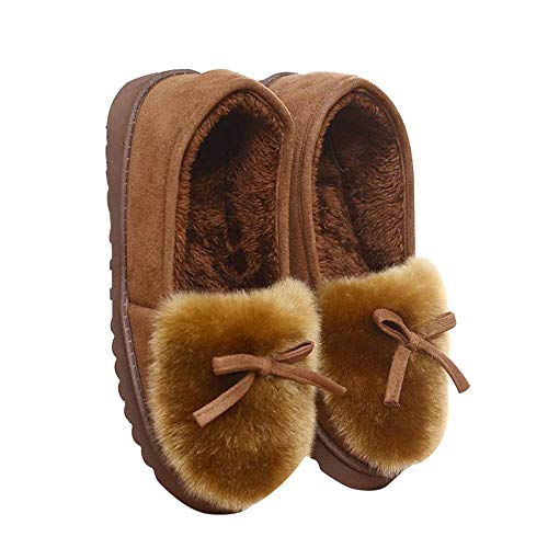 Indoor Cotton Low Da Casa For Fondo Top Closed Women Shoe Fluffy Donna Neve Brown Fashion Calore Spesso Pantofole Lady gq4H6Hw