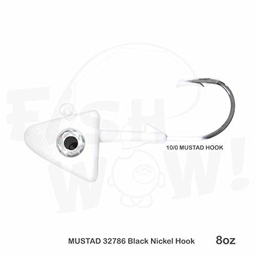 Fish WOW! 8oz Shad Jig Head 32786 MUSTAD Hook 2X Strong 10/0 Black Nickel Hooks Jigheads - White