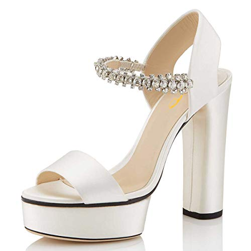 XYD Women Sexy Open Toe Strappy Platform Sandals Rhinestone Slingback High Chunky Heel Cocktail Party Dress Shoes Size 6 Ivory