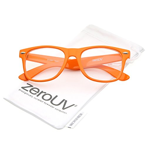 zeroUV - Retro Wide Arm Square Clear Lens Horn Rimmed Eyeglasses 54mm (Orange / - Glasses Purple Square