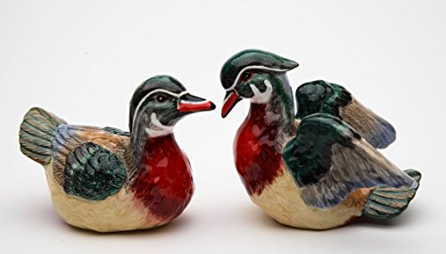 (Fine Ceramic Wood Duck Mallard Salt & Pepper Shakers Set, 4.25