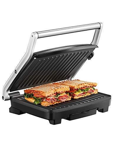 Panini Press, Deik Sandwich Maker with Temperature Control, 4-Slice Extra Large Panini Press Grill, 1500W Non-Stick Coated Plates and Removable Drip Tray, Stainless Steel by Deik