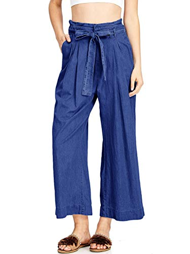 Lynwitkui Womens High Waisted Palazzo Pants Casual Wide Leg Loose Belted Cropped Jeans (Best Capri Pants 2019)
