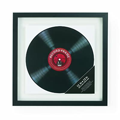 Umbra Record 14-1/2x14-1/2-Inch, Modern Picture Frame Designed to Display a Floating 12-Inch Album Cover, Square, Black - Holds one 12x12 album cover or can hold up to a 14.5x14.5 photo Constructed of black molded plastic; glass inserts Record or album cover floats between two panes of glass - picture-frames, bedroom-decor, bedroom - 41tuZiKvgdL. SS400  -