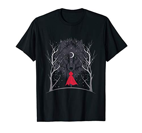 Little Red Riding Hood and Wolf at Night Halloween Costume T-Shirt