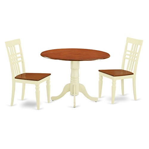 East West Furniture DLLG3-BMK-W 3Piece Dinette Table Set with One Dublin Table & 2 Dining Chairs in Buttermilk & Cherry Finish