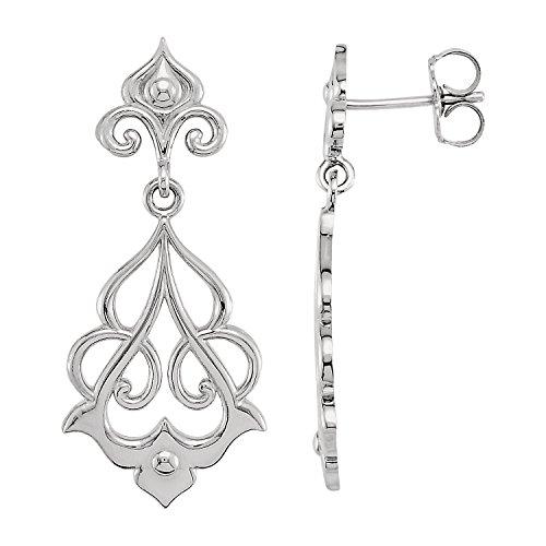 Cameo De Fleur Lis (Sterling Silver Decorative Fleur-De-Lis Dangle Earrings -1.14x0.51 inch Dimension, Polished)