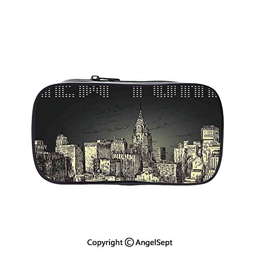 Two Big Pockets for Executive Fountain Pen,Grunge Pop Art Style Retro NYC Sky with Iconic Empire States Building City Print Grey Yellow 5.1inches,Multi-Functional 72 Slots Colored Pencil Case]()
