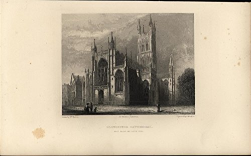 Gloucester Cathedral Beautiful Gothic Style Britain 1860 antique engraved print