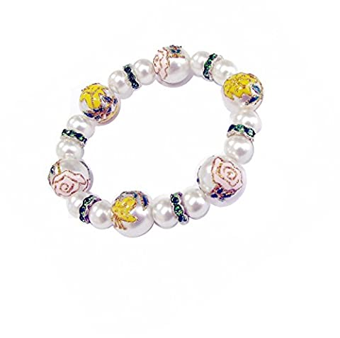 Linpeng Fiona 3D Hand Painted Glitter Flowers Pearl Glass Beads with Rhinestones Spacers Stretch Bracelet in Free Gift - Glitter Stretch Bracelet