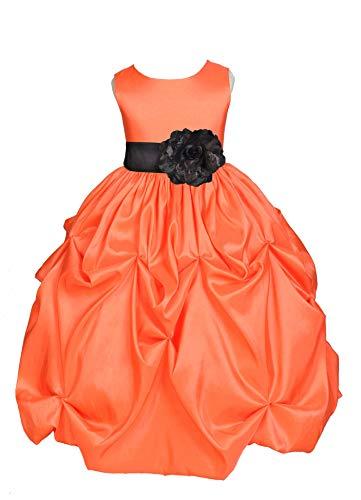 ekidsbridal Orange Satin Taffeta Pick-Up Bubble Flower Girl Dresses Easter Summer Dress 301S 4