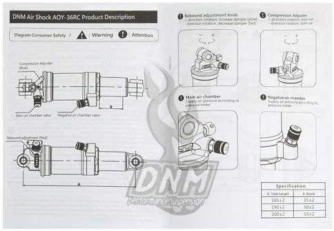 DNM Aoy-36rc VTT Air Amortisseur arri/ère avec Verrouillage 200/x 55/mm 4-System Noir # St1539