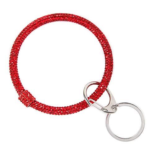 Key Ring Wrist Bangle Bracelet - Round Circle Keychain Organizer Hands-Free Wrist Holder (Red)