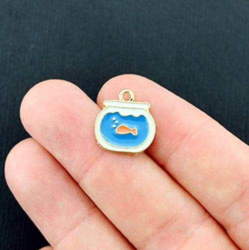 - 4 Goldfish Charms Gold Tone Enamel Adorable Fish Bowl Vintage Crafting Pendant Jewelry Making Supplies - DIY for Necklace Bracelet Accessories by CharmingSS