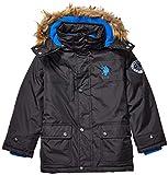 US Polo Association Boys' Toddler Stadium Parka Outerwear Jacket, Classic Black, 4T