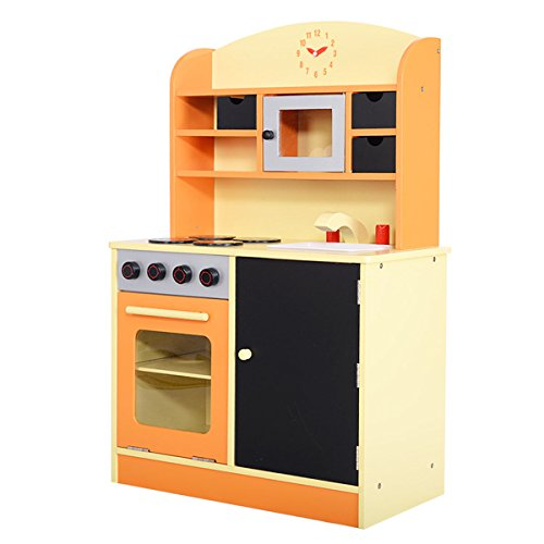 Giantex wood kitchen toy kids cooking pretend play set for Small toy kitchen set