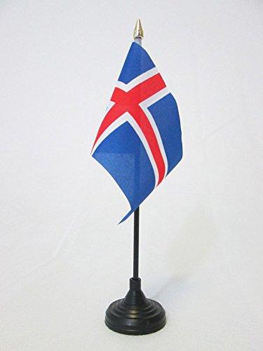 AZ FLAG TISCHFLAGGE Island 15x10cm goldene splitze flaggen ISL/ÄNDISCHE TISCHFAHNE 10 x 15 cm