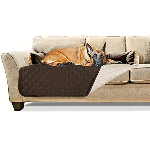 Furhaven Pet Furniture Cover   Sofa Buddy Two-Tone Reversible Water-Resistant Living Room Furniture Cover Protector Pet Bed for Dogs & Cats, Espresso/Clay, Extra Large