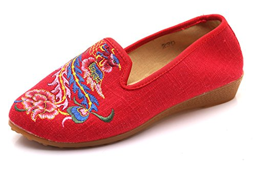 Embroidered Slingback (The end of the spring and summer beef ribs with the tip of the small slope embroidered shoes China wind,red,36-YU&XIN)