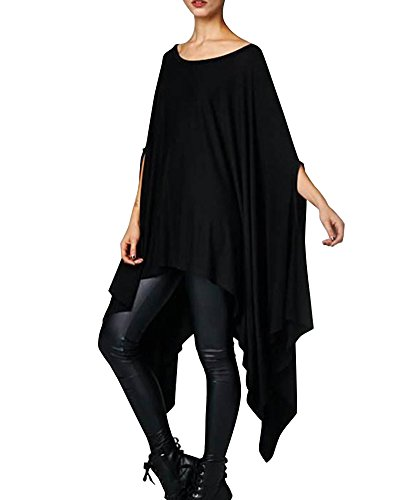 Irrgulier Blouse Robes Courte Shirt Manche Femmes T Taille Tops Noir Chemise Quge Grande wxIqYFTq