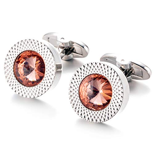 (Round Tangerine Crystal Cufflinks Orange Crystal Gem stone Cuff links)