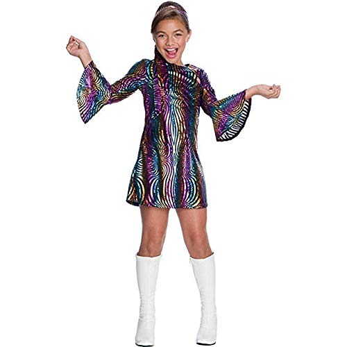 Charades Little Girl's Rainbow Swirl Disco Diva Childrens Costume, as Shown, Medium -
