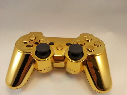 PS3 Modded Controller with 78 Mods (Rapid-fire, Drop Shot, Auto-aim, Jitter COD MW3, Black Ops, MW2) Gold Chrome Finish