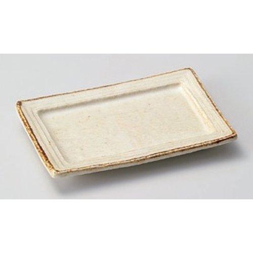 Grilled Fish Plate utw164-10-374 [6.4 x 4.5 x 0.8 inch 10.3floz] Japanece ceramic kohiki glaze rim type up dish tableware by SETOMONOHONPO (Image #1)