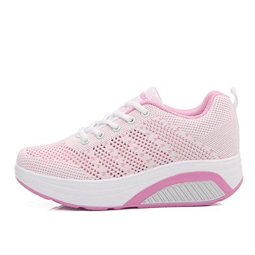Damen Sneakers Dicke Sohle Aufzug Freizeitschuhe Hohl Atmungsaktiv Laufschuhe Trainers Fitness Bequeme Schuhe Weiß-Pink 39 EU LanFengeu 7iB6wBL