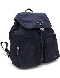 Zainetto Unisex Navy Tessuto Nylon Backpack Rucksack Leather Trim 1BZ005
